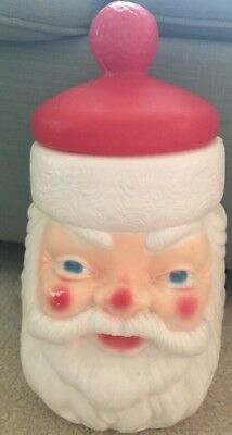Vintage Santa Claus Empire Blow Mold Christmas Cookie Jar Plastic