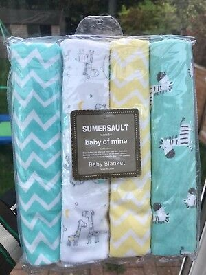 "4 x Baby Nursing Wrap swaddling cotton Receiving Blankets Pack 30 x 30"" unisex"