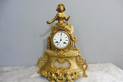 Antique Clock Old Clock Shelf Mantel Marble Clock French Clock Vintage