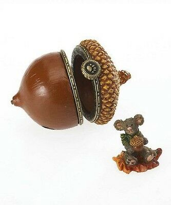 Boyds Treasure Box Collection - Hinged Box - Chippy's Acorn With Leaf Mcnibble