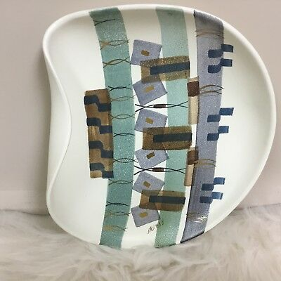 sascha brastoff pottery rolled edge plate california abstract
