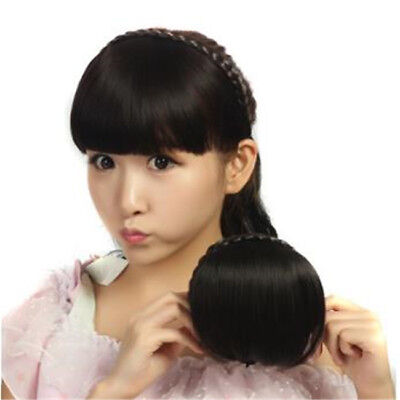 Synthetic Hair Fringe Bang Hairpiece Clip-In Front Hair Extension Hair D