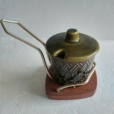 Lord Nelson pottery vintage mint sauce pot with lid on wooden stand