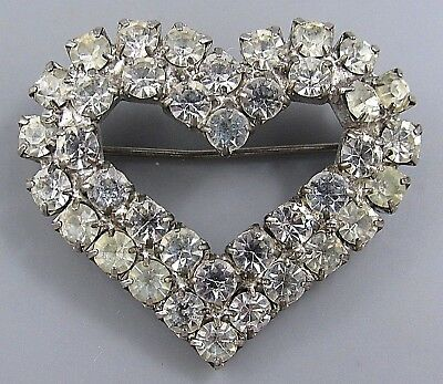 Vintage Jewelry Faceted Prong Set Crystal Heart BROOCH PIN Rhinestone Lot R
