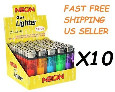 500 Ct Full Size Disposable Cigarette Lighters Assorted Color Wholesale Lot NEON