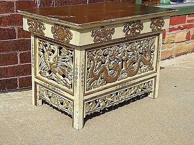 Chinese Asian Vintage wood carved Dragon & crane bird Temple Shrine Altar Table