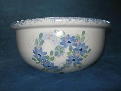 "Vtg LARGE 11"" Blue & White Stoneware Spongeware MIXING BOWL..GORGEOUS..EXC COND!"