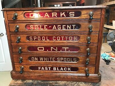 Antique Clark's Red Glass OAK 6 Drawer Spool Cabinet