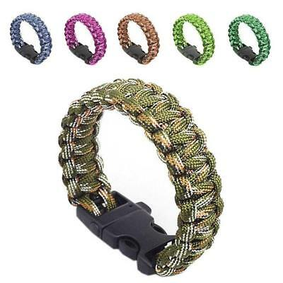 New Outdoor Self-rescue Parachute Cord Bracelets Whistle Buckle Survival Outdoor