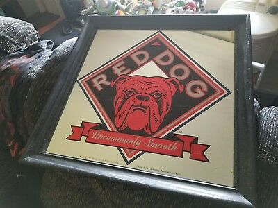 "Vintage Red Dog Beer Bar Mirror Sign 18"" x 18"" Advertising man cave bar Etc"