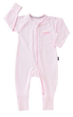 BONDS Zip Wondersuit Ballet Pink & White Stripe NEW with Tags 0-3 3-6 6-9 month