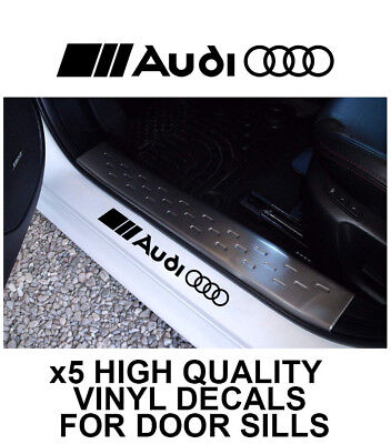 5x AUDI LOGO CAR DOOR SILLS VINYL DECALS STICKERS ADHESIVE