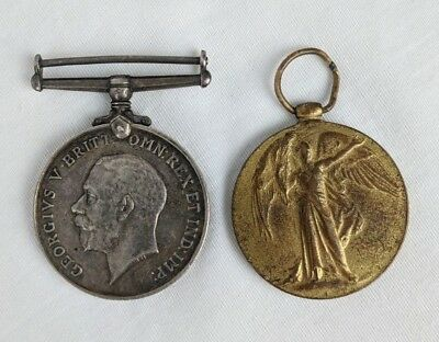 WWI First World War British Medal Pair Wounded WIA Gnr A. Hobbs Ypres Arras Oppy