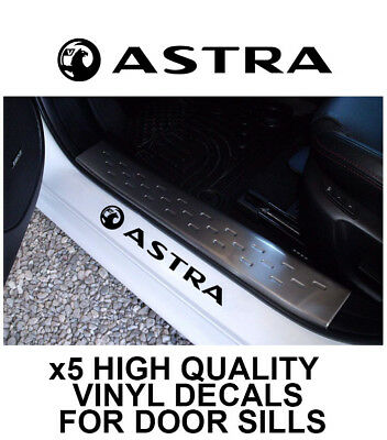 5x VAUXHALL ASTRA LOGO CAR DOOR SILLS VINYL DECALS STICKERS ADHESIVE