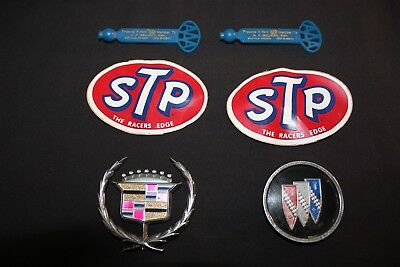 Vintage Lot of Automotive Advertising Items STP Stickers Cadillac Emblem AAA