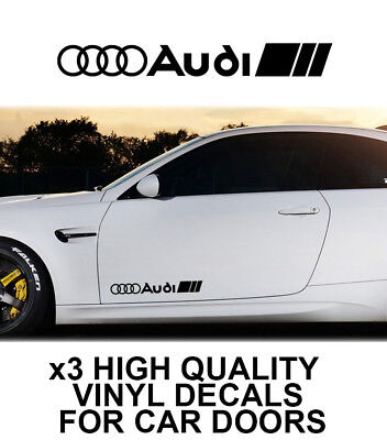 3x AUDI LOGO CAR DOOR VINYL DECALS STICKERS ADHESIVE A3 A5 S LINE