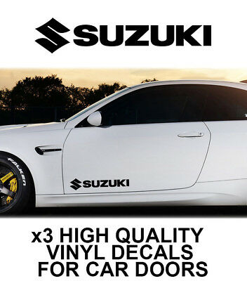 3x SUZUKI LOGO CAR DOOR VINYL DECALS STICKERS ADHESIVE
