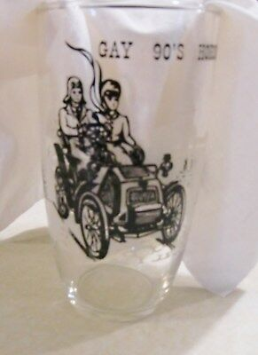 Vintage Mid-Century Gay 90s Drinking Glass Horseless Carriage Great Condition