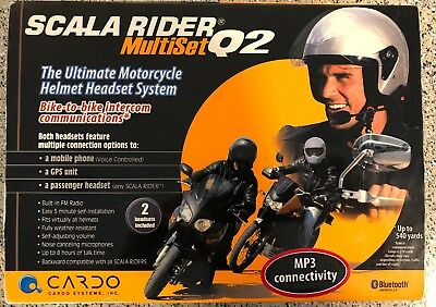 CARDO SCALA RIDER MULTISET Q2 BIKE TO BIKE SYSTEM 2 HEADSETS in BOX Bluetooth