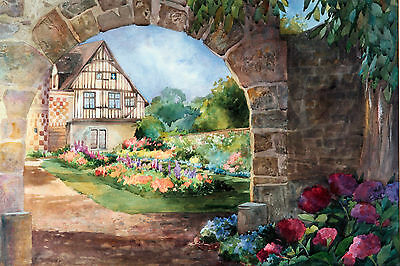 antique oil painting/watercolor by Patricia Akay S.W.A.