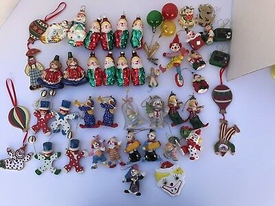 Large Lot of 52 Clown Christmas Ornaments, mixed blown glass, wood and misc