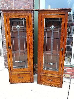 Arts & Crafts Mission craftsmen Antique Stain Glass display Cabinets bookcase
