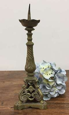 Antique French Brass Gothic Church Candlestick Candle Holder- DL255