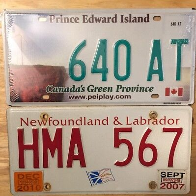 Two (2) Canada License Plates, One PEI, One Newfoundland.