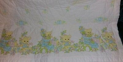 """Vintage Riegel Quilted Bears White & Pastel Baby Blanket  35""""X47""""Non allergenic"""