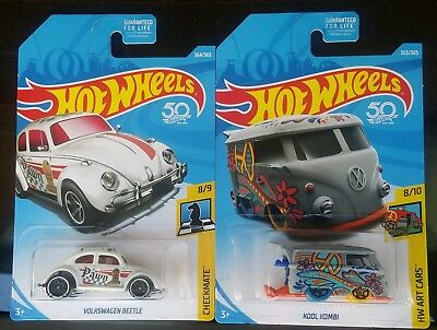 Hot Wheels 2018 Volkswagen Beetle Checkmate 8/9, Kool Kombi Hw Art Cars 8/10 Lot
