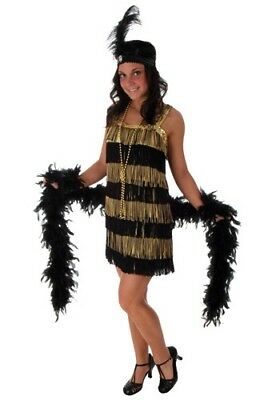 WOMEN'S 20's FRINGE GOLD GATSBY FLAPPER COSTUME PLUS SIZE XL & 2XL (with defect)