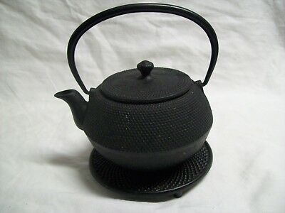 Vintage Signed Japanese Tetsubin Black Cast Iron Tea Kettle with Trivet 6 1/2""