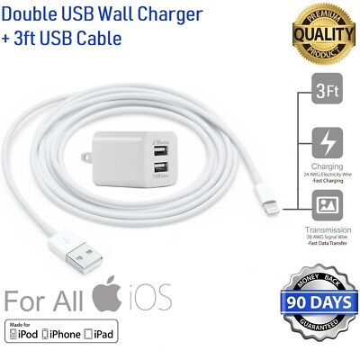 3ft Long 8 Pin USB Power Cord Cable for iPhone 6S,7,SE + Wall Cube Charger [M2F