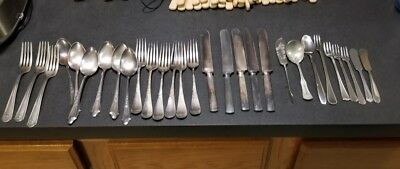 huge lot antique silver plate silverware Rogers Elmo Tudor Stainless