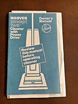 Hoover Concept Two Cleaner w Power Drive **Owner's Manual