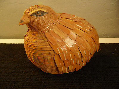 Vintage Wicker Partridge Basket Carved Wood Bamboo Rattan Shanghai Handicrafts