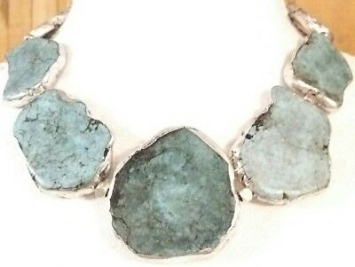 Amazing Designer Signed Turquoise Howlite Stone Silver Slabs Statement Necklace