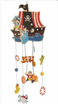 Unique Cute Wooden Pirate Ship Mobile - Toy Boy bedroom decor, Captain