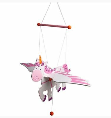 Sweet Unique Wooden UNICORN Mobile - Wings Flap Fly Toy Girl bedroom decor