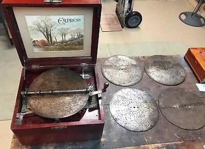 "Antique Working MIRA EMPRESS 9 1/4"" Disc Music Box 1880's With 5 Discs"