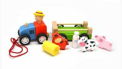 Wooden Farm Tractor with Animals Pull Along Truck Play Set Toy Farmer Horse Cow