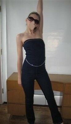 70s JUMPSUIT Denim Strapless by Chesley Small Bombshell PIN up sexy RARE Small