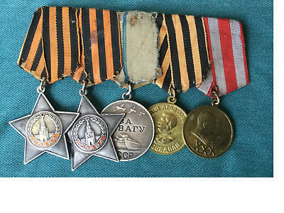 Russian Soviet Very Rare set of 2 Orders of Glory (2 & 3), Order of Bravery and