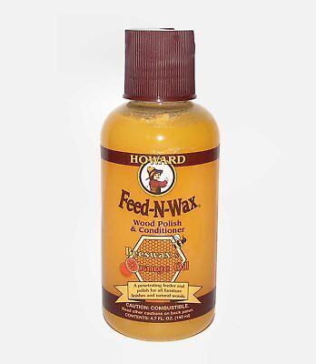 Howard Feed-N-Wax Wood Polish & Conditioner - Beeswax & Orange Oil - 4.7oz