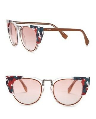 a6e8a604be51 FENDI FF 0074 S Sunglasses Crystal Marble Red Women s Cat Eye ...