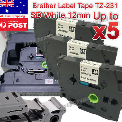 TZ-231 TZe-231 Brother Black on White P-Touch Label Tape 12mm Black on White AUS