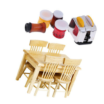 Doll House Miniature Kitchen Supplies Wooden Table Chairs & Foods for 1:12