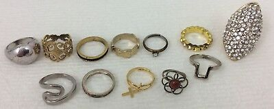 PRETTY 12 PIECE RING LOT  -  VARIOUS SIZES - Vintage And Current Fashion Costume