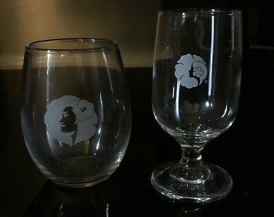 Nice! Hawaiian Airlines Wine Glasses Old Logo Aloha ! Excellent Shape!