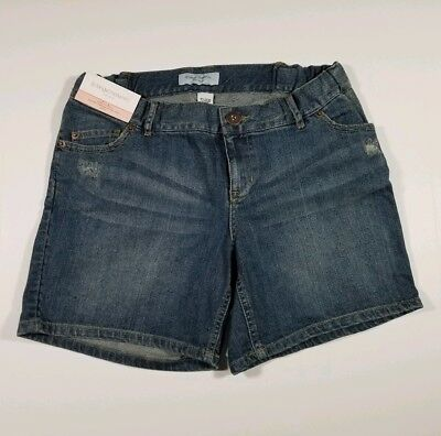 NEW Liz Lange Maternity Women's Small Blue Denim Shorts STRETCH Size ( S ) NWT